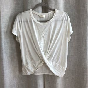 Gaze White Crop Top with Twist Front